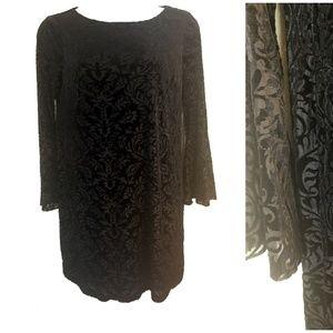 ECI  Flocked Velvet Stretch Dress  sz L New